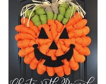 Jack O' Lantern Pumpkin Burlap Wreath Rustic Thanksgiving Fall Autumn Harvest Halloween Wreath Pumpkin Carving Jack O Lantern