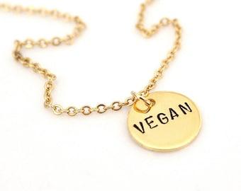 Vegan Necklace, Hand Stamped Necklace, Activist Jewelry, Vegetarian Simple Necklace, Vegan Jewelry