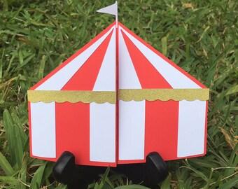 Circus Carnival Tent Invitation Invites - Set of 10