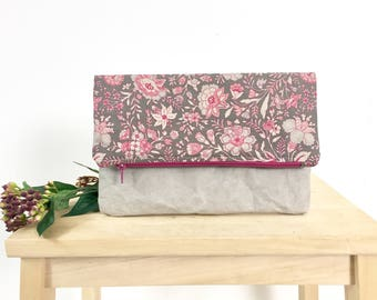Floral fold over clutch with grey washable paper. Small bag. Purse. Vegan leather
