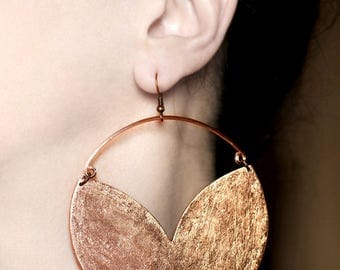 Big earrings Boho earrings Copper dangles Statement hook earrings Copper hoop earrings Large chunky jewelry African earrings Birthday gifts