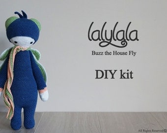 DIY Crochet Kit - Blue Lalylala Buzz the House Fly - Lalylala pattern pdf - Blue toy - DIY Craft - Christmas gift - Gift for girl