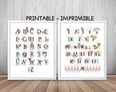 Numbers nursery print, alphabet print, alphabet poster,animal print,alphabet nursery print, nursery alphabet, nursery decor, nursery numbers