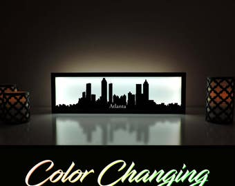Atlanta Skyline, Atlanta Lightbox, Atlanta Skyline Light Up Picture, Atlanta Skyline Picture, Nightlight, LED Lamp, Home Decor