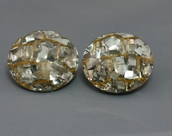 Silver and Gold Confetti Clip Earrings