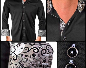 Black with Gray Moisture Wicking Dress Shirt - Made in USA