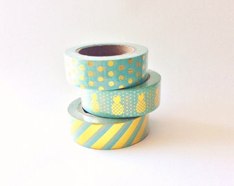 10m washi tape mint set of 3 foil gold, pineapple, polka dots gold and stripe, blue/green