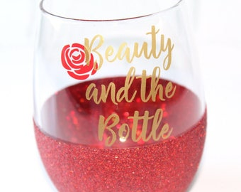 Beauty and the Beast Glitter Wine Glass / Belle Wine Glass / Beauty and the Beast Wine Glass / Beauty and the Bottle / Disney Wine Glass