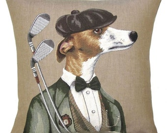 greyhound whippet golfplayer jacquard woven belgian gobelin  tapestry cushion cover throw pillow for him - PC-5613