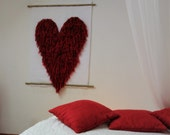 Woven wall hanging, Valentine's day, Modern home decor, Heart wall tapestry, gift for her, art deco, Woven wall decor, Contemporary art,