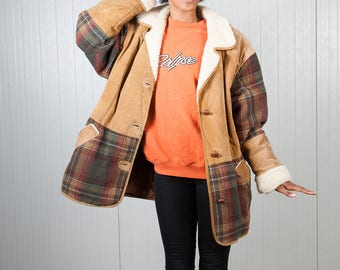 Checkered South Western navajo coat / Brown, green and red blanket coat /  Vintage ladies coat / Vintage men's coat / Wool coat / Size XL