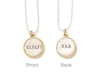 Double Sided Necklace, Personalized Wedding Gift,Date Necklace,Couple Name Necklace,Wedding Date Necklace,Number Necklace,Anniversary Gift