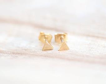 Geometric Earrings, Triangle Earrings, Gold,Minimalist Earring,Sterling Silver Earring Posts,Everyday Earrings,Tiny Earrings,Mini Triangle