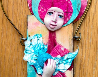 Mixed Media Art Doll - Spirit Doll - Abstract Collage  Doll - Assemblage Doll -  STRAWBERRY FACE