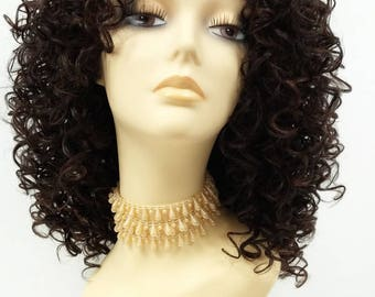 Long 15 inch Long Curly Dark Brown and Auburn Heat Resistant Wig. Synthetic Fashion Wig. [91-464-Camile-4/30]