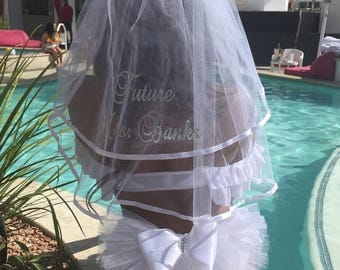 Bridal Bachelorette Booty Veil  PERSONALIZED. Coordinating Hair Veil available at add'l cost, Bridal Bikini Veil by Val's Veils