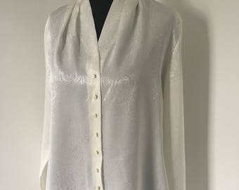 90s Cream Paisley Shiny Pearl High Neck Blouse Top with Pleat Detail UK Size 14