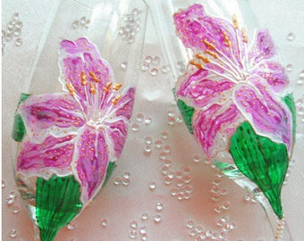 Hand painted Celebration Champagne Flute 'Lily', commissions accepted.