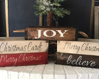 Rustic Christmas Centerpiece - Christmas Card Holder - Christmas Wood Box - Holiday Centerpiece- Christmas Gift For Her - Gift for Teacher