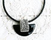 Ceramic necklace, Black and white ceramic pendant, Ceramic collar, Geometric necklace, Ornament necklace, Ethnic necklace, Natural ceramic