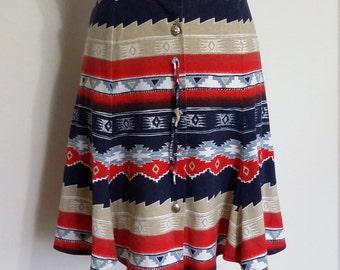 Southwestern skirt, S, aztec skirt, cowgirl skirt, spring skirt, summer skirt, blue skirt, red skirt, short skirt