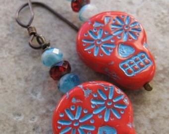 SALE!!!!!!! Red skulls- Day of the Dead - Sugar Skulls - Czech Glass Skulls - Día de los Muertos - Skull Jewelry - , Unique Jewelry