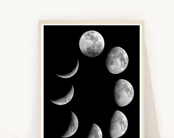 Moon Phase Print, Moon Art, Moon Phases, Printable Art, Home Decor, Wall Art, Instant download, Wall decor, Wall Print