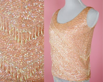 Vintage 60s, Peach, Blush Pink, Sequin, Beaded Top // Retro, 1960s, Party Blouse, Fringe, Sweater, Womans Size Medium