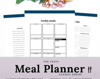 Meal Planner - Meal Planner Printable - Weekly Menu Planner - Grocery List - Shopping List - Classic - PMEA-1100-A - INSTANT DOWNLOAD