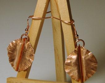 Copper earring form folded earring hammered earring