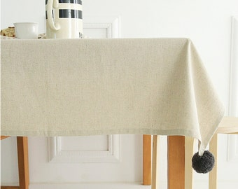 Pom Pom Accents Beige Linen Tablecloth