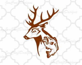 Deer and Fish in Svg, eps, dxf, Ai and PNG Format Fishing svg for Cricut and Silhouette, Hunting Fishing