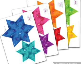 Rainbow garland, Printable party decor, Rainbow birthday decoration, Rainbow party decoration, Printable star garland, DIY Party decor.