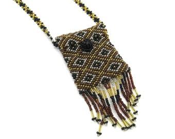 Long Boho Necklace, Amulet Necklace, Seed Bead Necklace, Seed Bead Jewelry, Pouch Necklace, Long Necklace, Long Necklace with Pendant