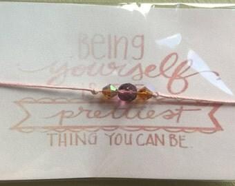 Friendship Quote Bracelet - Pink beaded bracelet