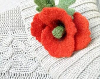 Little Poppy Flower / Brooch and Barrette / Handmade Needle Felting