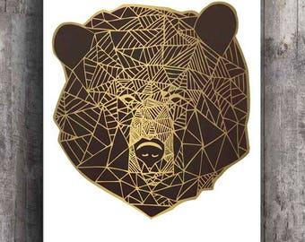 Gold Bear Print, Geometric Line Art, Home Wall Decor, Modern Apartment Decor, Animal Print, Nature Illustration, Bear Poster, Minimalist