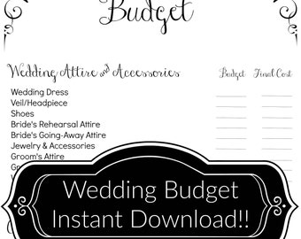 PRINTABLE Wedding Budget | Instant Download