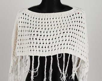 Poncho off white with fringes Cable Knit Poncho Capelet Womens knitted cape Knitted soft women clothes apparel