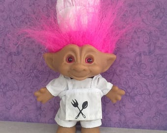 Vintage Chef Troll~Ace Novelty Co~Treasure Gem Series~5 in Tall~Hot Pink Hair~Fully Dressed~Pink Belly Gem and Eyes~Collectable Dolls~Trolls