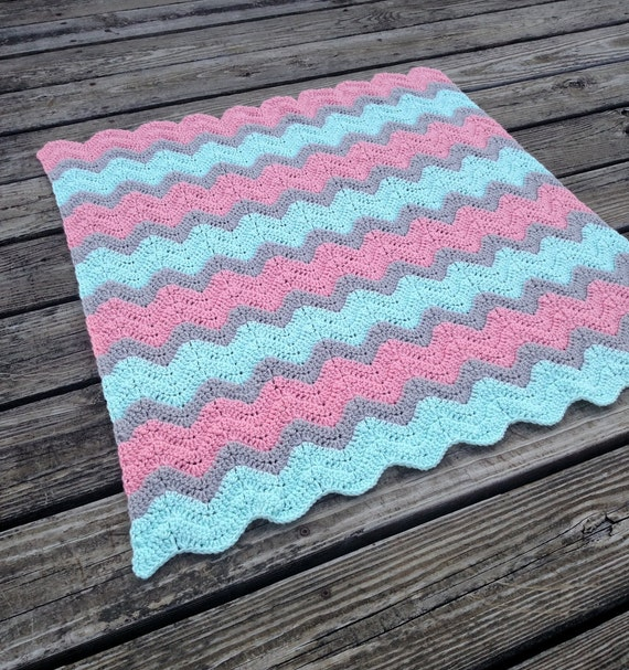 Mint Green Coral And Grey Crochet Chevron Baby Blanket Mint