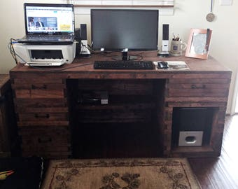 Wood Desk, Large Office Desk, Rustic Office Furniture, Wood Furniture, Industrial Desk , Rustic Wood Desk, Primitive Desk, Office Furniture