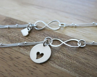 Mother and  Daughter infinity bracelets,Heart cutout charm bracelets,Mother and daughter jewelry,Gift for Mother of one,Satellite chain