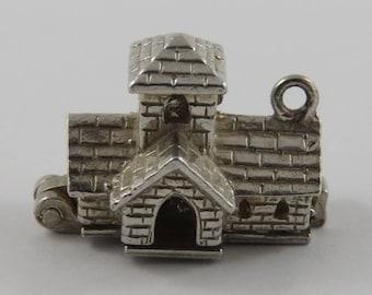 Wedding Chapel Mechanical Sterling Silver Vintage Charm For Bracelet