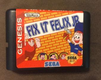 Fix It Felix Jr. Fan Made Custom Sega Genesis Game. 16bit Works on Retron 5!