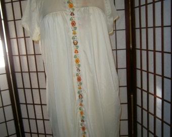 Women's Peignoir Set - Yellow with Orange and Green Trim