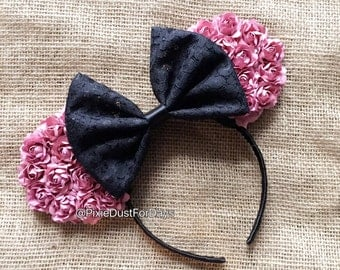 Pink Floral Mouse Ears, Mauve Pink Floral Ears
