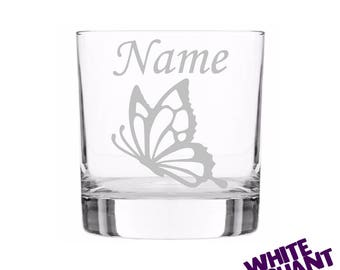 Etched Personalised Butterfly (B) Tumbler/High-Ball/Pint Glass