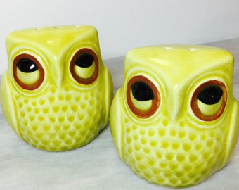 Yellow Green Owl Salt and Pepper Shakers
