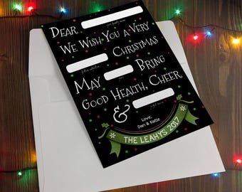 Customized Holiday Christmas Card - Mad Libs Style - Printed